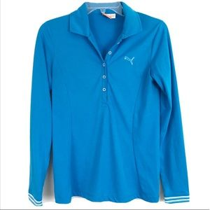 Puma Popover Blue Long Sleeve Collared Sz S